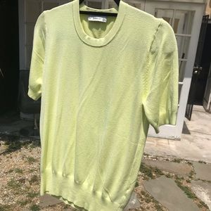 Zara Knit Bright Pale Yellow Top, L